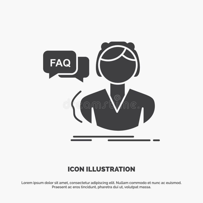 FAQ, aide, appel, consultation, ic?ne d'aide symbole gris de vecteur de glyph pour UI et UX, site Web ou application mobile illustration stock