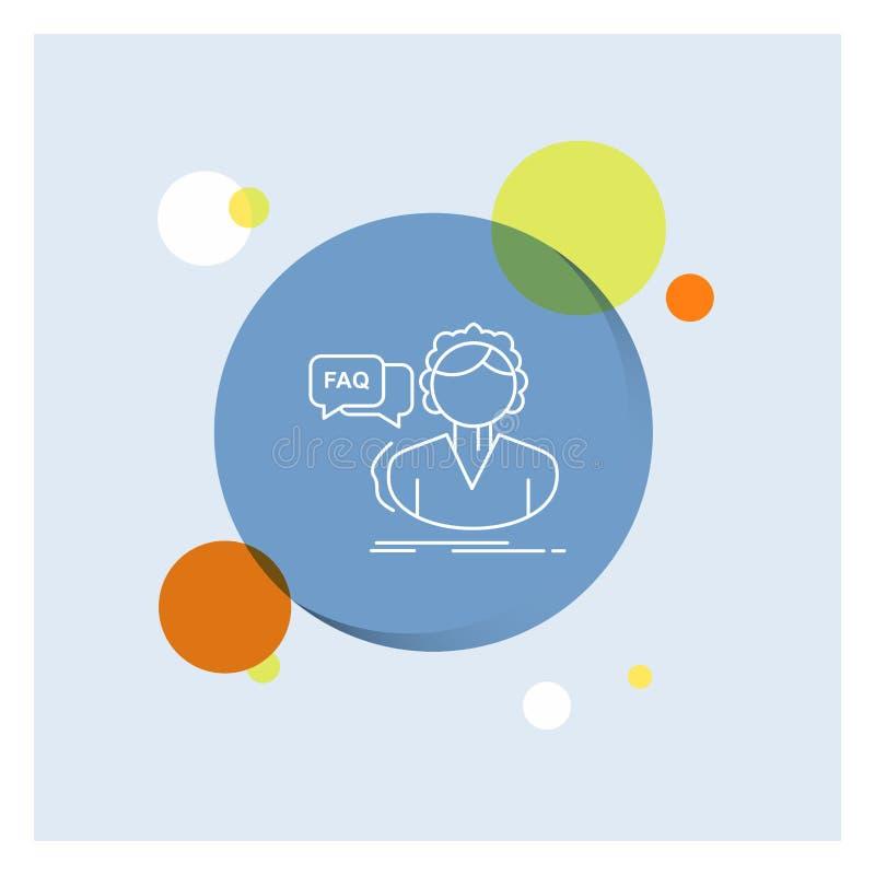 FAQ, aide, appel, consultation, ligne blanche fond coloré d'aide de cercle d'icône illustration libre de droits