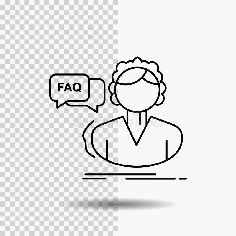 FAQ, aide, appel, consultation, ligne d'aide icône sur le fond transparent Illustration noire de vecteur d'ic?ne illustration de vecteur