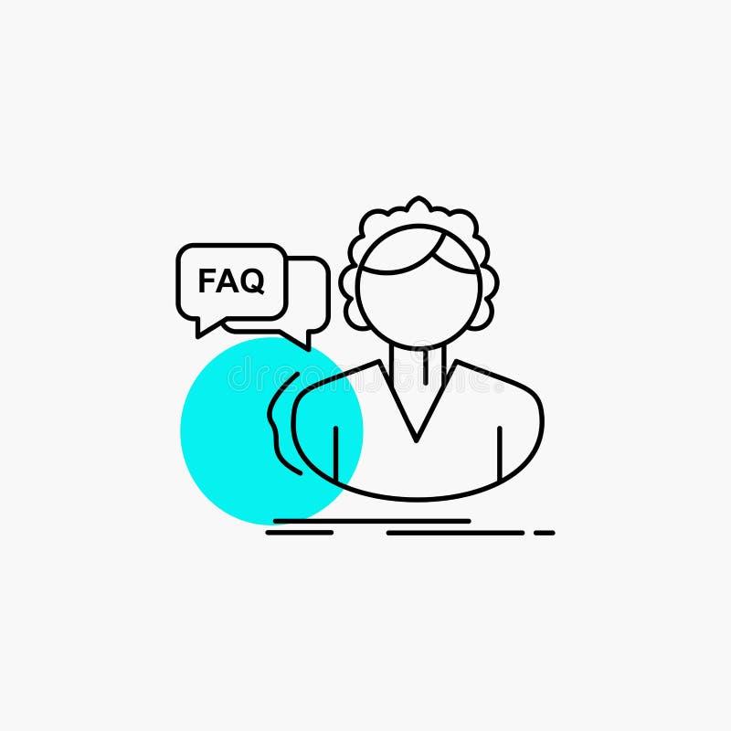 FAQ, aide, appel, consultation, ligne d'aide ic?ne illustration stock