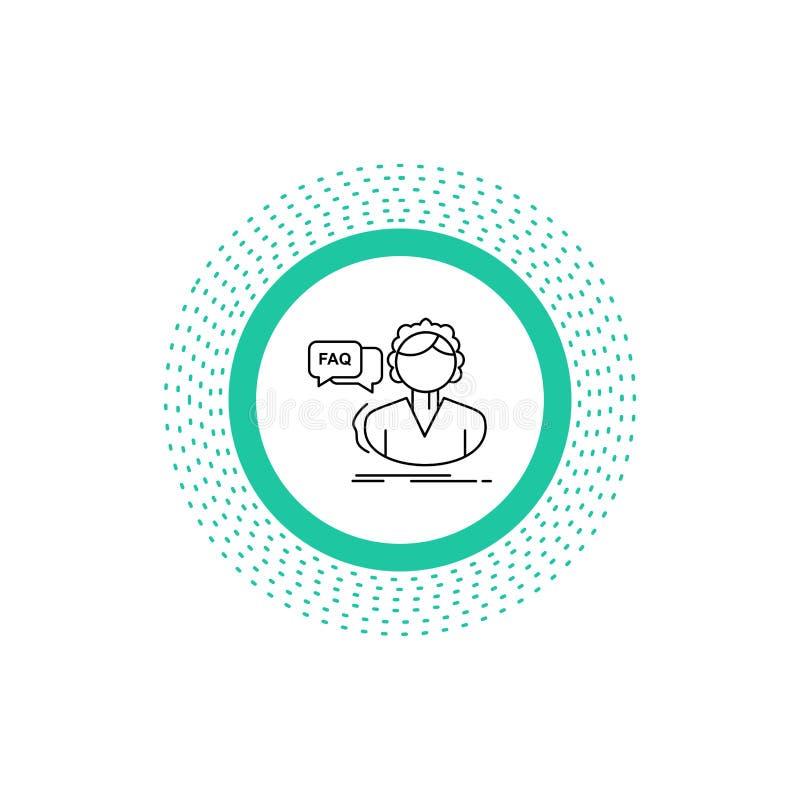 FAQ, aide, appel, consultation, ligne d'aide ic?ne Illustration d'isolement par vecteur illustration de vecteur