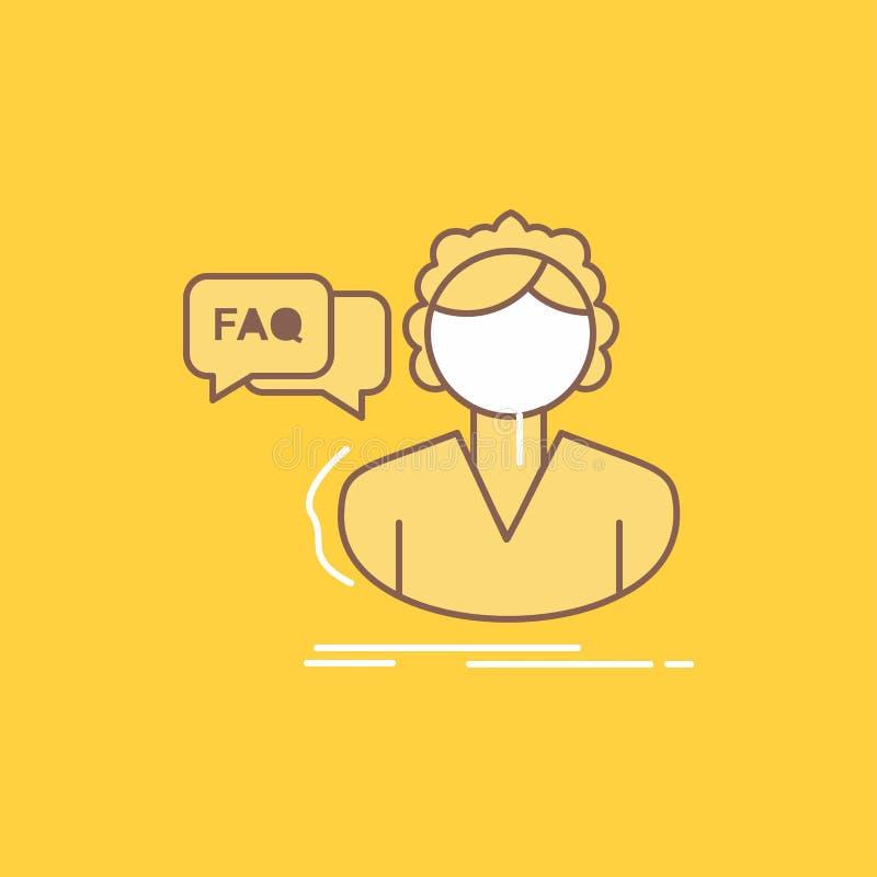 FAQ, aide, appel, consultation, ligne plate d'aide a rempli icône Beau bouton de logo au-dessus de fond jaune pour UI et UX, illustration stock