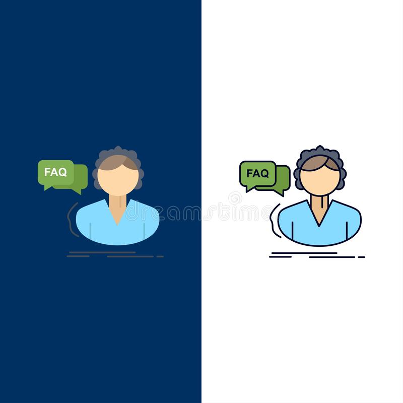 FAQ, aide, appel, consultation, vecteur plat d'icône de couleur d'aide illustration stock
