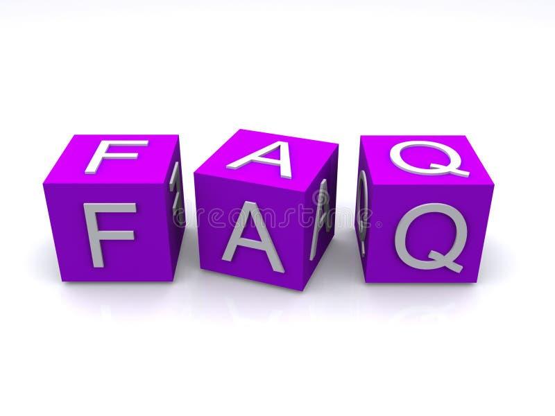 FAQ blocks. The letters for FAQ on purple blocks royalty free illustration