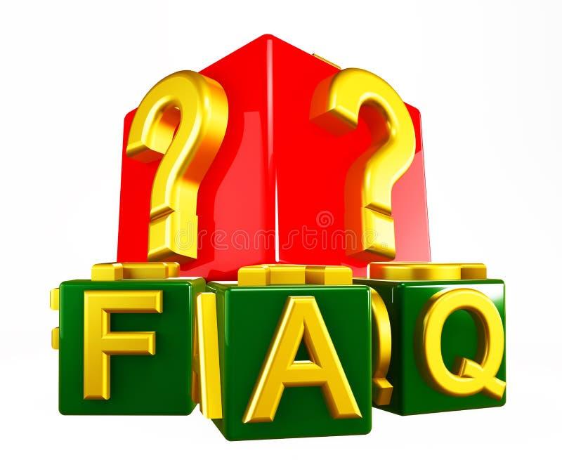 FAQ Blocks on white stock photo