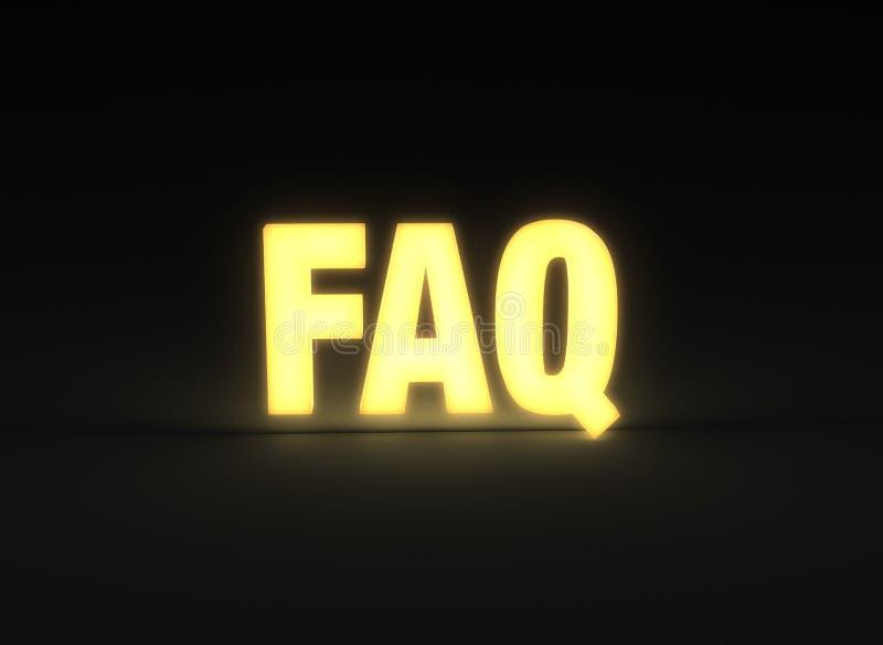 FAQ brillantemente que brilla intensamente en fondo oscuro fotografía de archivo libre de regalías