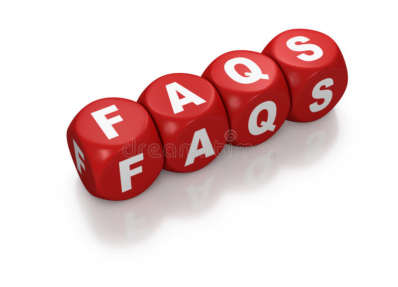 FAQ como o texto em blocos vermelhos ilustração stock