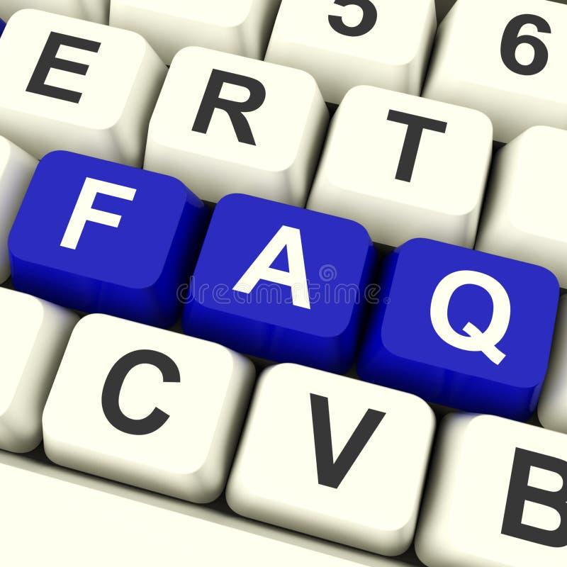 FAQ-Computer-Tasten in den blauen darstellenden Informationen stock abbildung