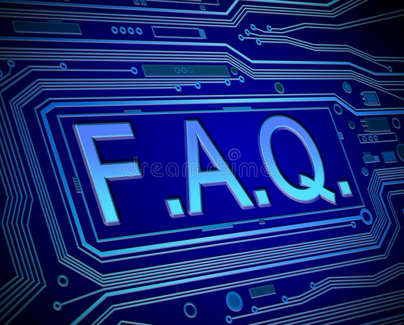 FAQ concept. Abstract style illustration depicting printed circuit board components with an FAQ concept vector illustration