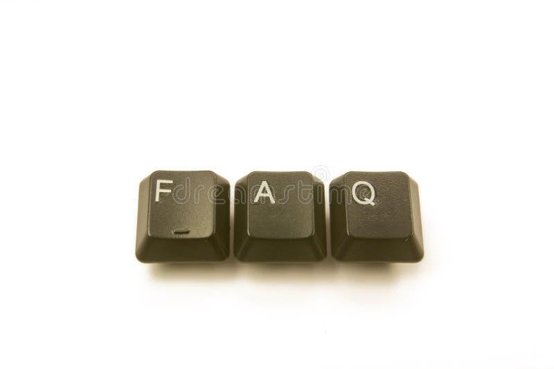 FAQ das chaves de teclado fotos de stock