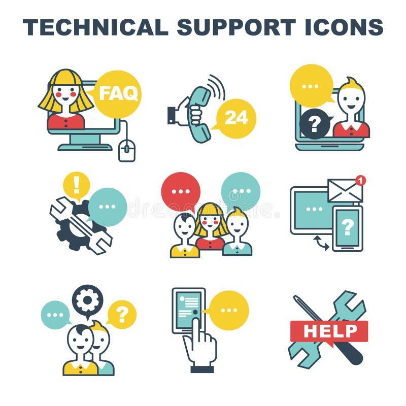 FAQ delle icone del supporto tecnico e call center e regolazioni di guida in linea royalty illustrazione gratis
