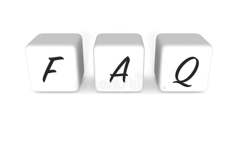 FAQ dices, biały tło royalty ilustracja