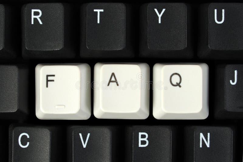 FAQ en el teclado fotos de archivo libres de regalías