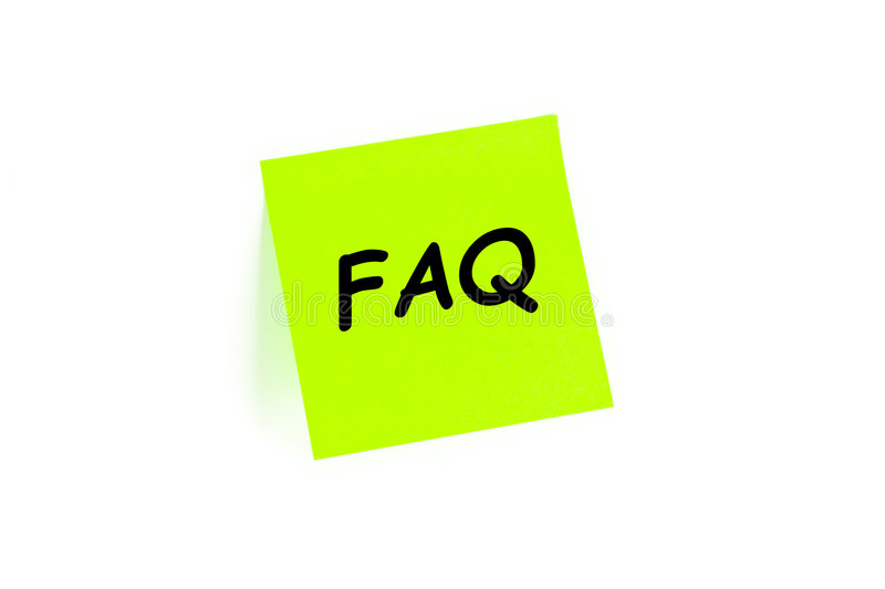 FAQ en una nota de post-it foto de archivo libre de regalías
