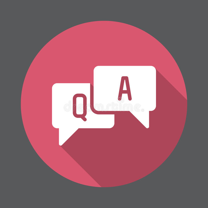 FAQ, flache Ikone der Fragen und Antworten Runder bunter Knopf, Kreisvektorzeichen mit langem Schatteneffekt stock abbildung