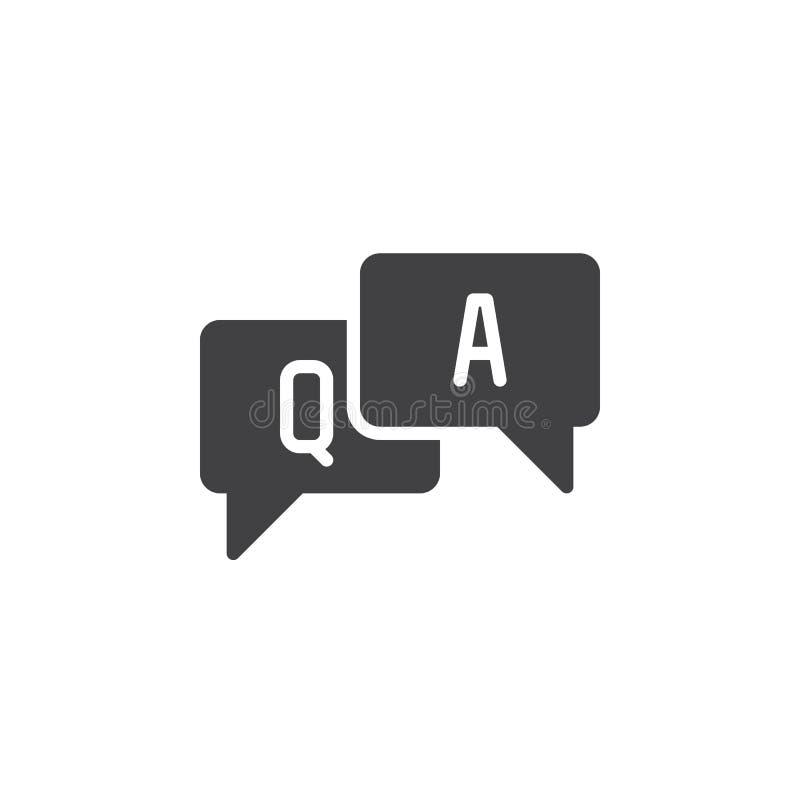 FAQ, Frage und Antworten-Ikonenvektor, füllte flaches Zeichen, das feste Piktogramm, das auf Weiß lokalisiert wurde lizenzfreie abbildung