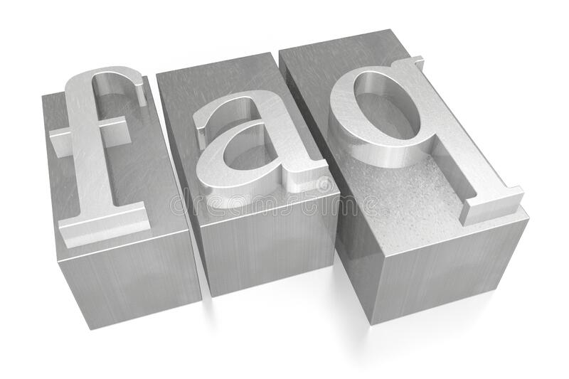 FAQ - Frequently Asked Questions - letterpress - 3D illustration stock photography