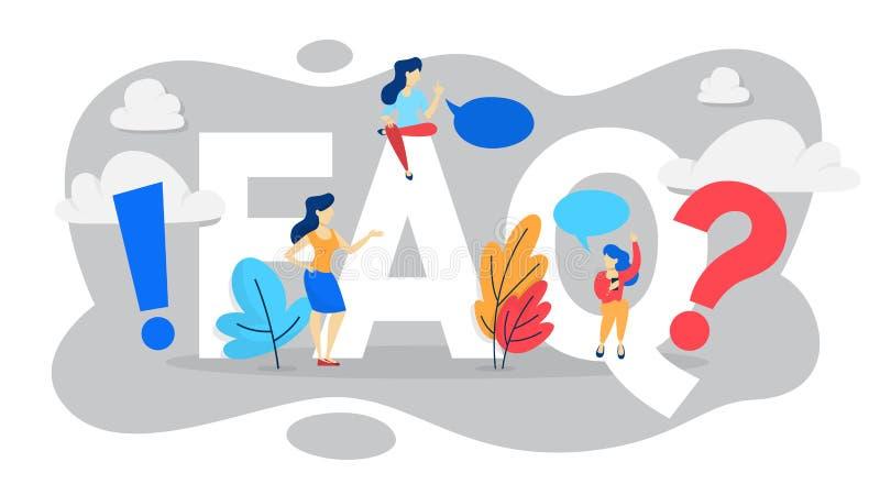 FAQ o concepto de la pregunta y de la respuesta Ayuda del cliente libre illustration