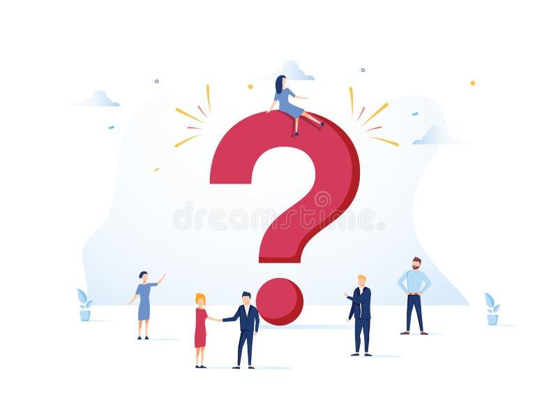 FAQ pojęcia wektoru ilustracja Dobrowolnie pytać pytania tło z ludźmi i znak dla strony internetowej Sie? sztandar ilustracji