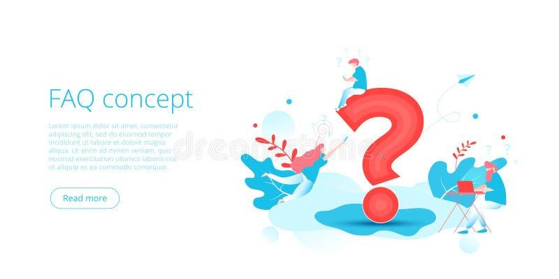 FAQ poj?cie w isometric wektorowej ilustracji Stron internetowych pyta? dobrowolnie pyta? t?o z lud?mi i znakiem Millenials ilustracja wektor
