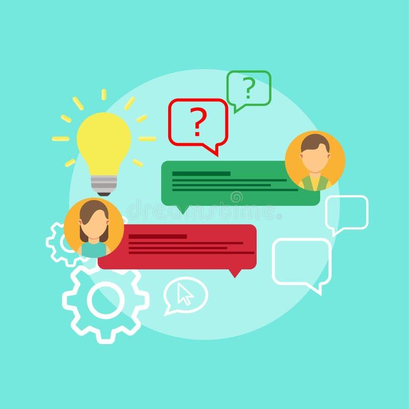 FAQ-Problemfragenikonen-Lösungsvektor Lokalisiert bitten Sie um kreative Konzeptzweifelsservice-Antwort Wissenskennzeichenhilfsge vektor abbildung