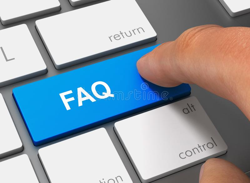 Faq pushing keyboard with finger 3d illustration royalty free illustration