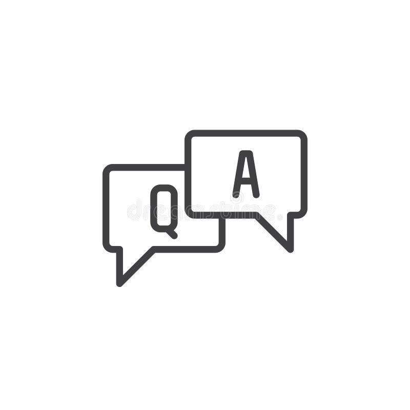 FAQ, pytanie i odpowiedź wykłada ikonę, konturu wektoru znak, liniowy stylowy piktogram odizolowywający na bielu royalty ilustracja