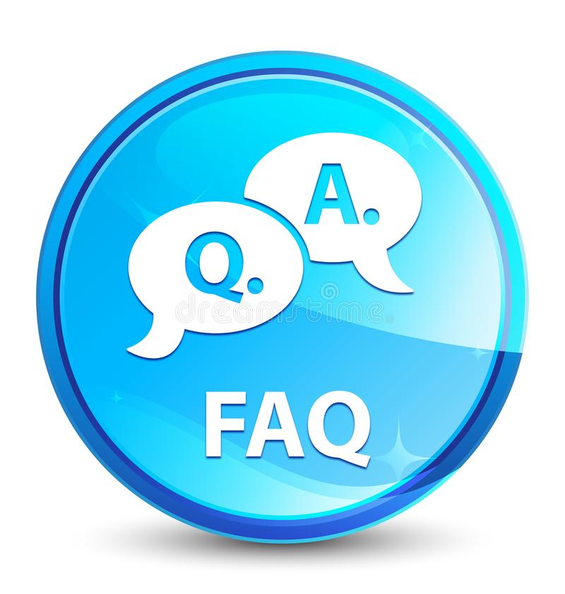 Faq (question answer bubble icon) splash natural blue round button stock illustration