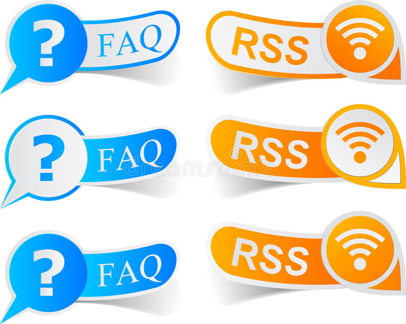FAQ & RSS tags. Vector illustratin of faq and rss sticky labels stock illustration