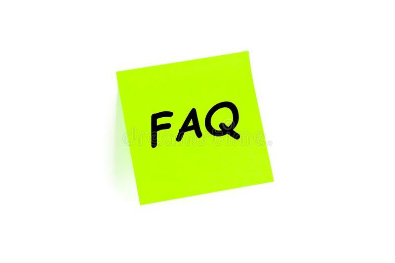 FAQ su una nota di post-it fotografia stock libera da diritti