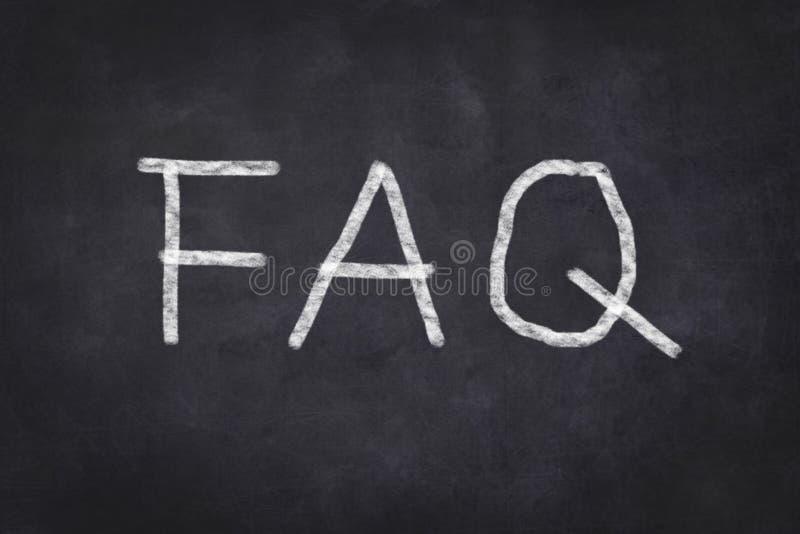 FAQ sulla lavagna immagine stock
