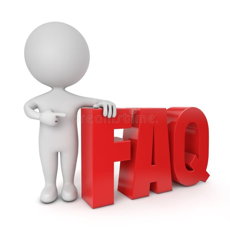 FAQ sveglio della gente 3d illustrazione di stock