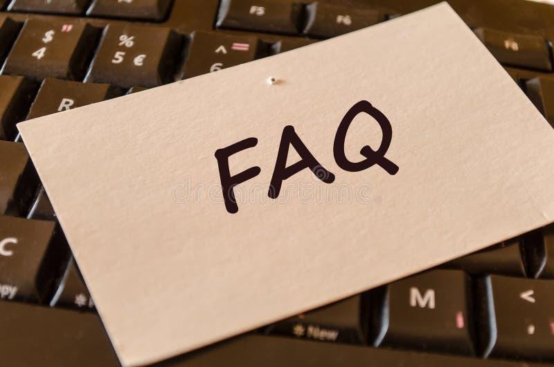 Faq teksta notatka zdjęcia stock