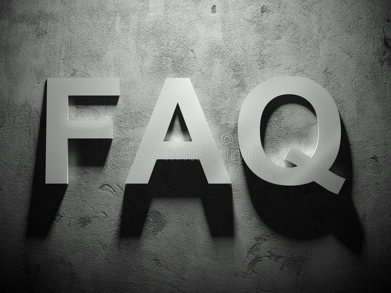 FAQ text with shadow, word. Background vector illustration
