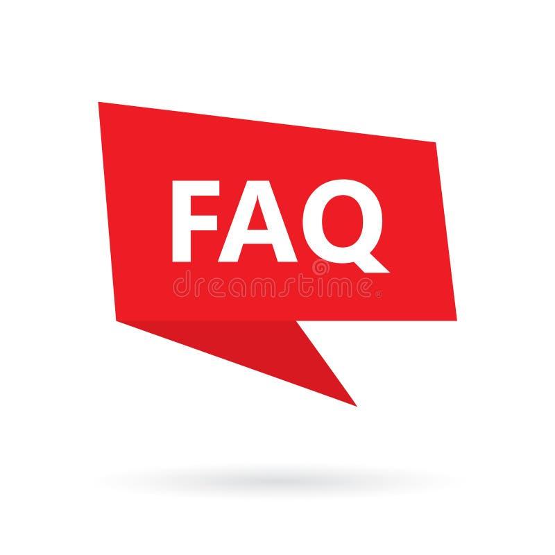 Faq-vanliga frågor på anförandebubbla royaltyfri illustrationer
