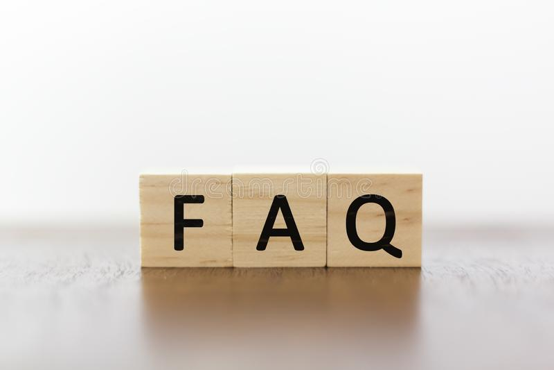 FAQ on wooden blocks stock image