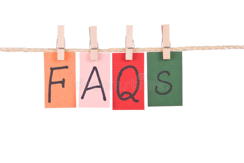 Download FAQS, Colorful Words Hang On Rope Stock Image - Image: 17304863