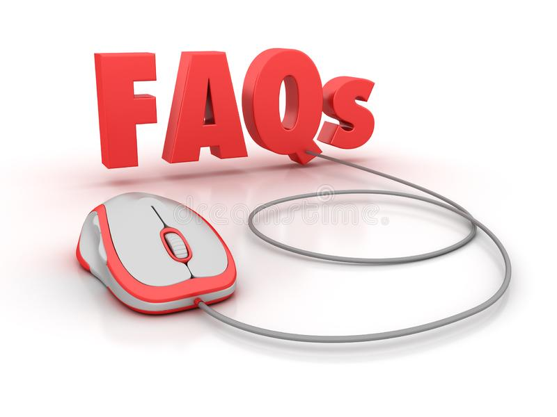 FAQs 3D Word with Computer Mouse royalty free illustration