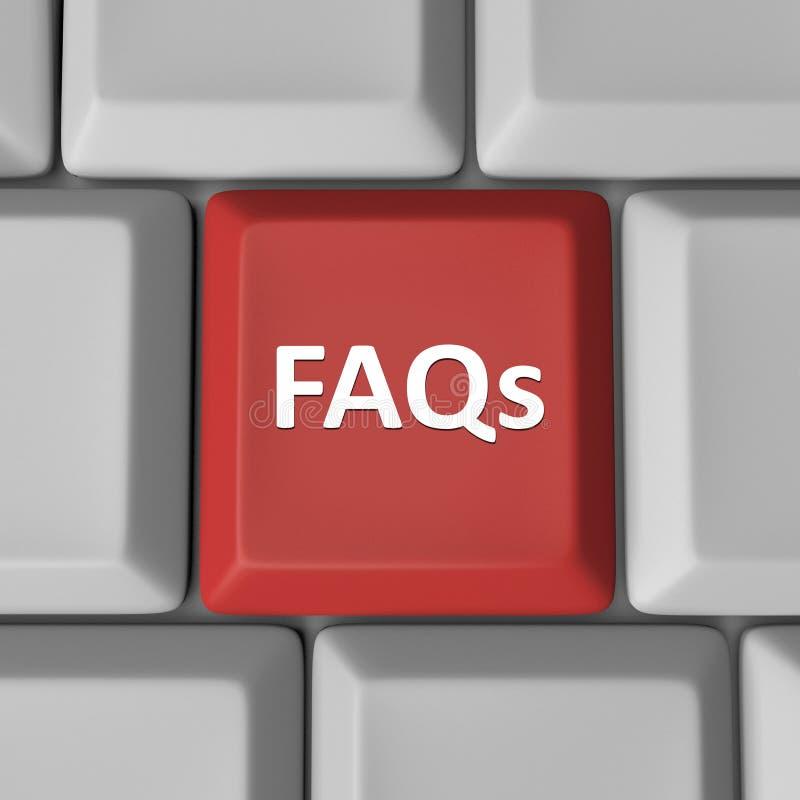 FAQs klucza Czerwoni Komputerowi Klawiaturowi Dobrowolnie Pytać pytania royalty ilustracja