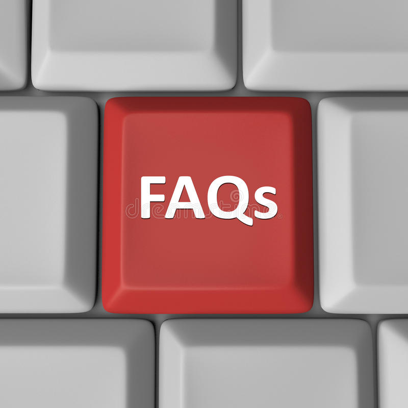 FAQs Red Computer Keyboard Key Frequently Asked Questions Royalty Free Stock Photo