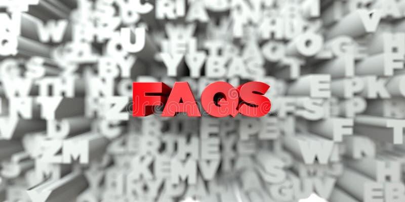 FAQS - Rode tekst op typografieachtergrond - 3D teruggegeven royalty vrij voorraadbeeld stock illustratie