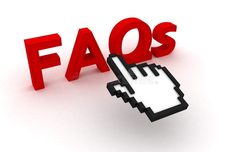 FAQs Text With Computer Cursor Royalty Free Stock Images