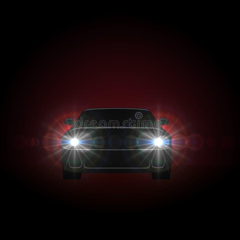 Faróis brilhantes do carro ilustração stock