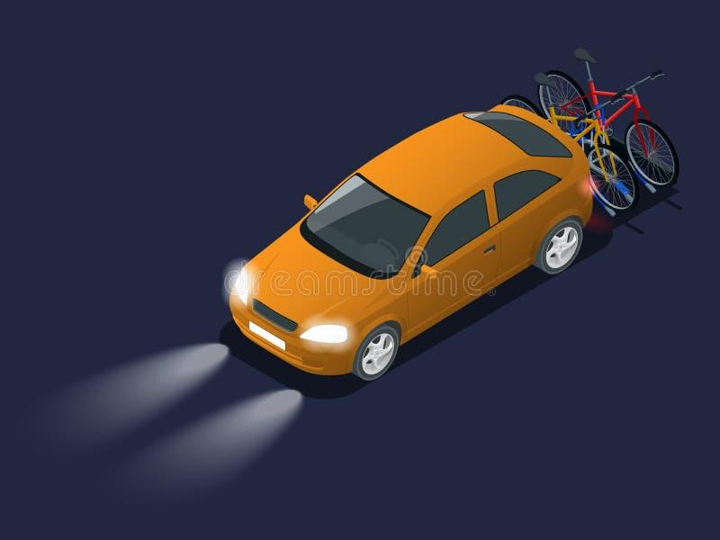 Faróis do carro do automóvel na escuridão Bicicletas isométricas carregadas na parte de trás de uma proibição Carro e bicicletas ilustração do vetor