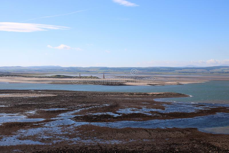 Faróis Northumberland de Guile Point do monte de Heugh imagem de stock