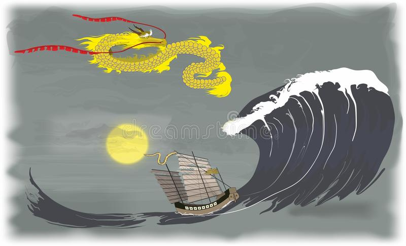 Far East Dragon in sea. The dragon caused a wave and decided to sink the fisherman`s ship vector illustration