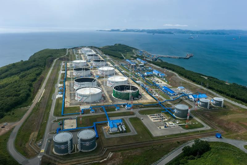 Nakhodka, Russia - July 05, 2019: Oil terminal of the company Transneft royalty free stock image