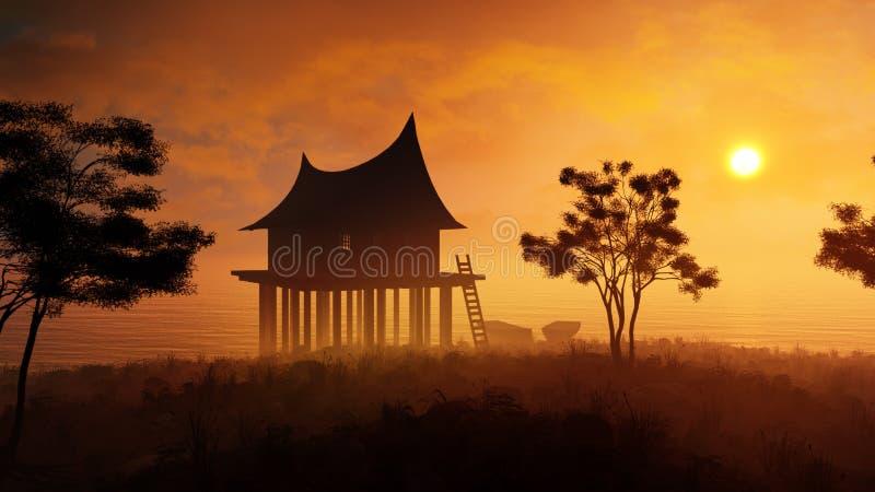 Far East solnedgånglandskap royaltyfri illustrationer