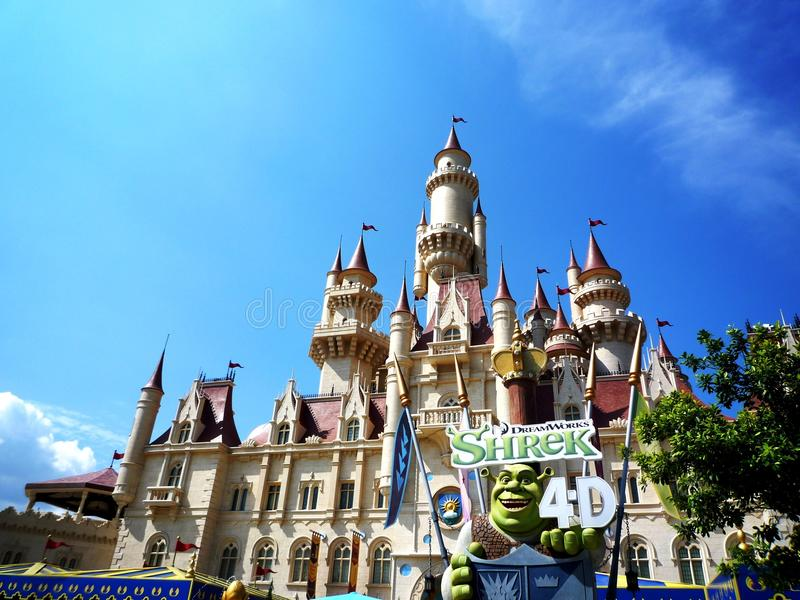 Far Far Away Castle at Universal Studios Singapore royalty free stock photography
