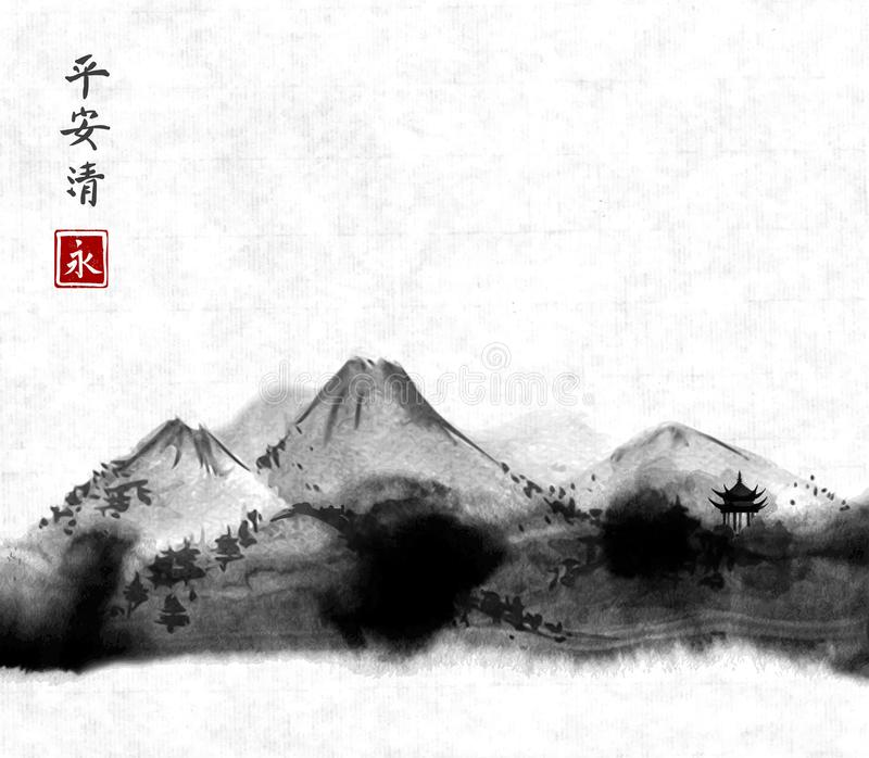 Far mountains hand drawn with ink on rice paper background. Traditional oriental ink painting sumi-e, u-sin, go-hua vector illustration